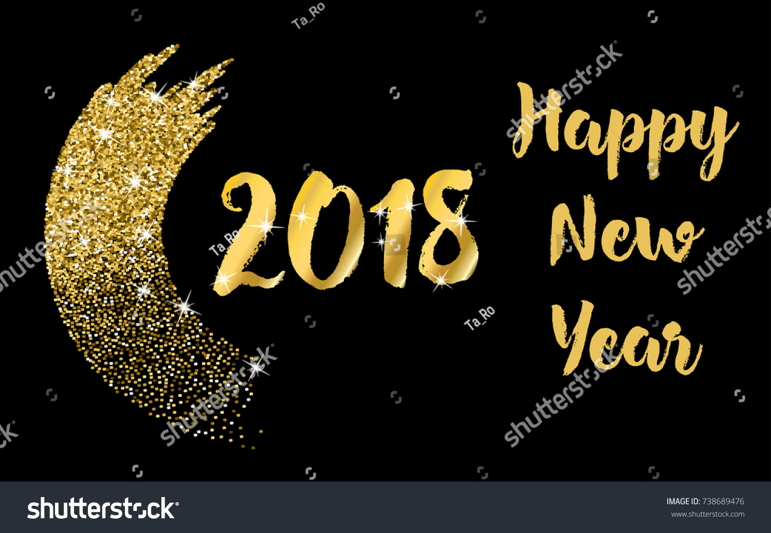 2018 happy new year lettering typography design with glitter brush stroke on a black background
