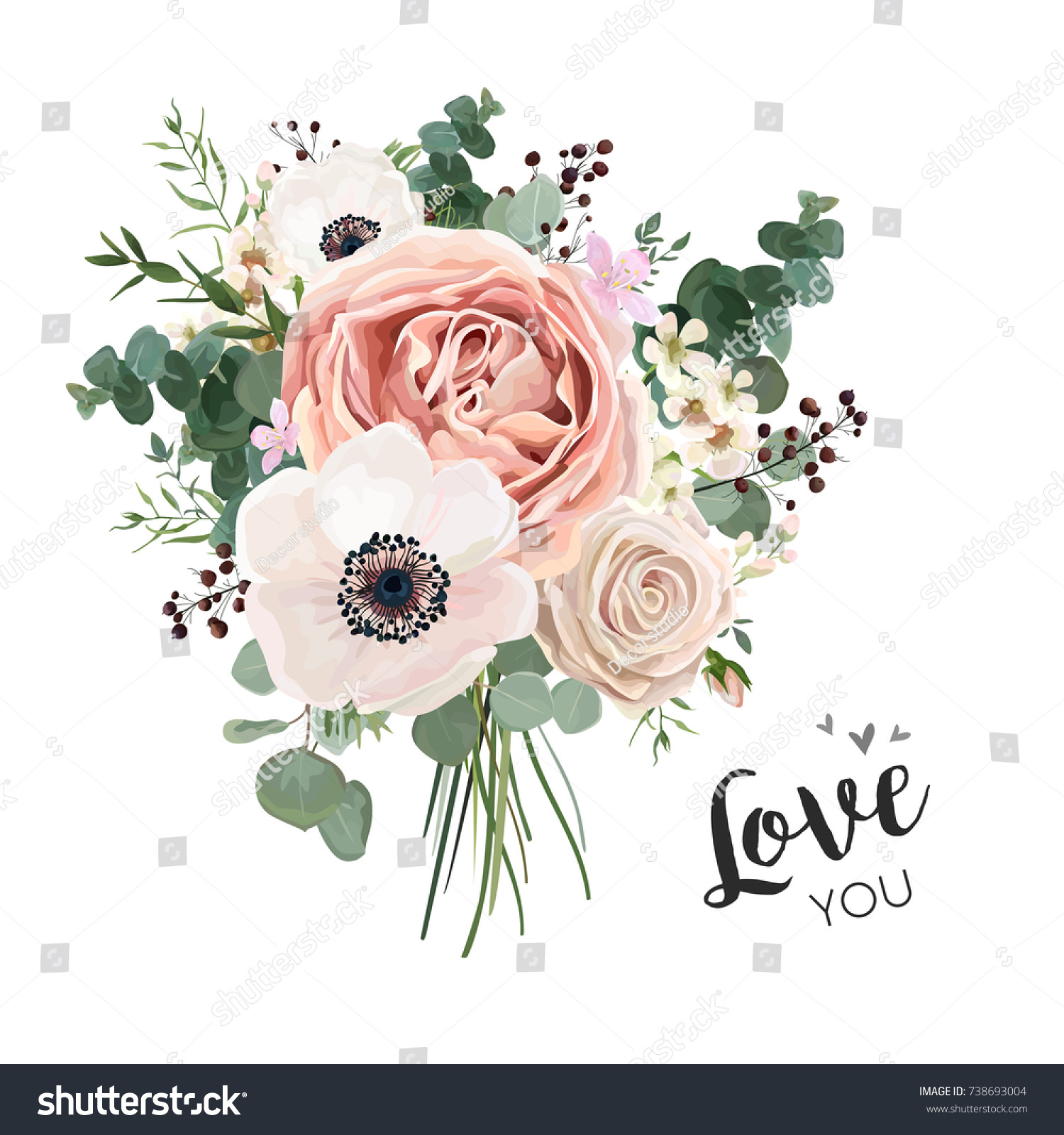 Flower Bouquet Floral Bunch Vector Boho Stock Vector Royalty Free
