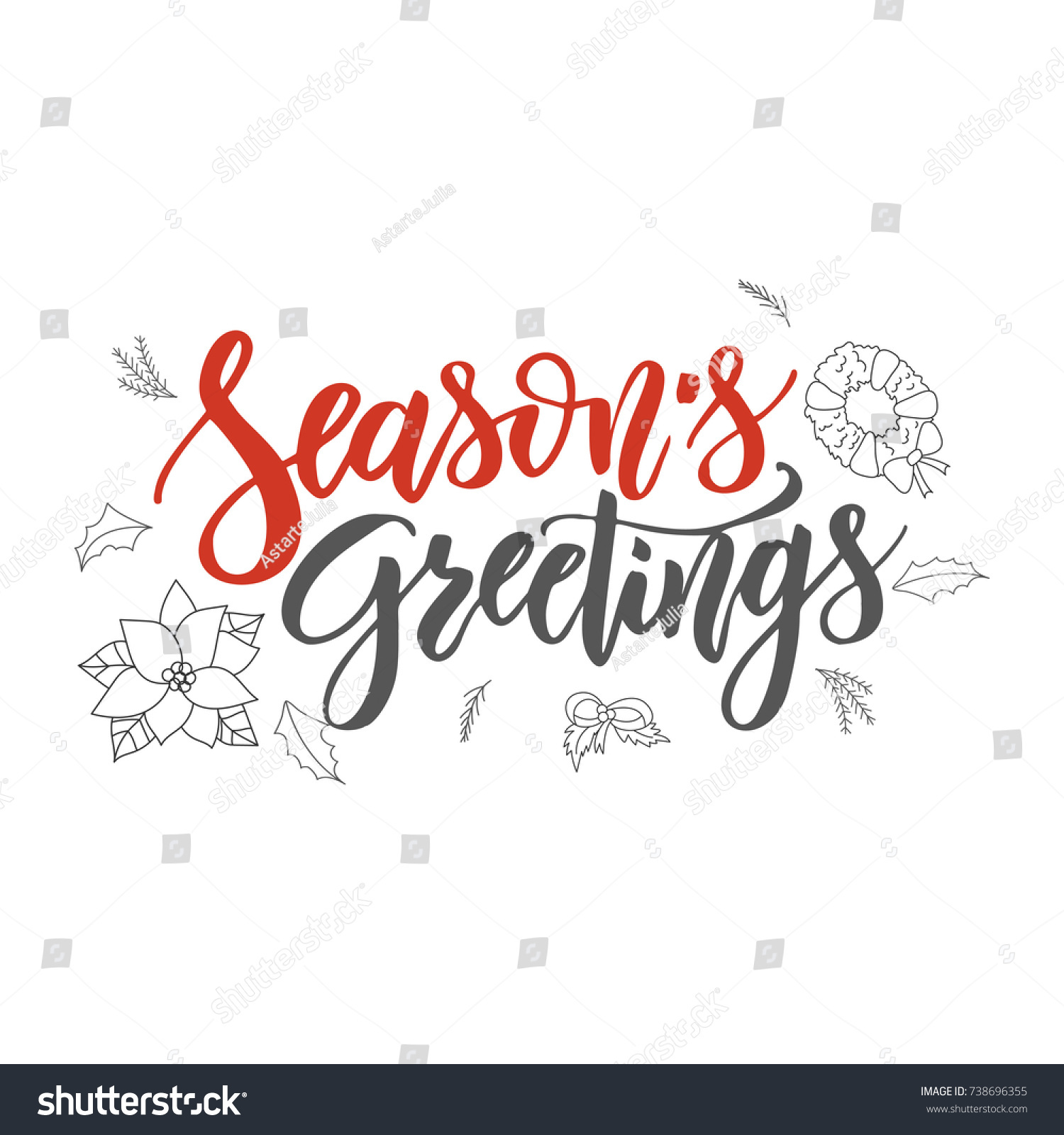 Season S Greetings Handwriting Script Lettering Marry Christmas Greeting Card Modern Brush