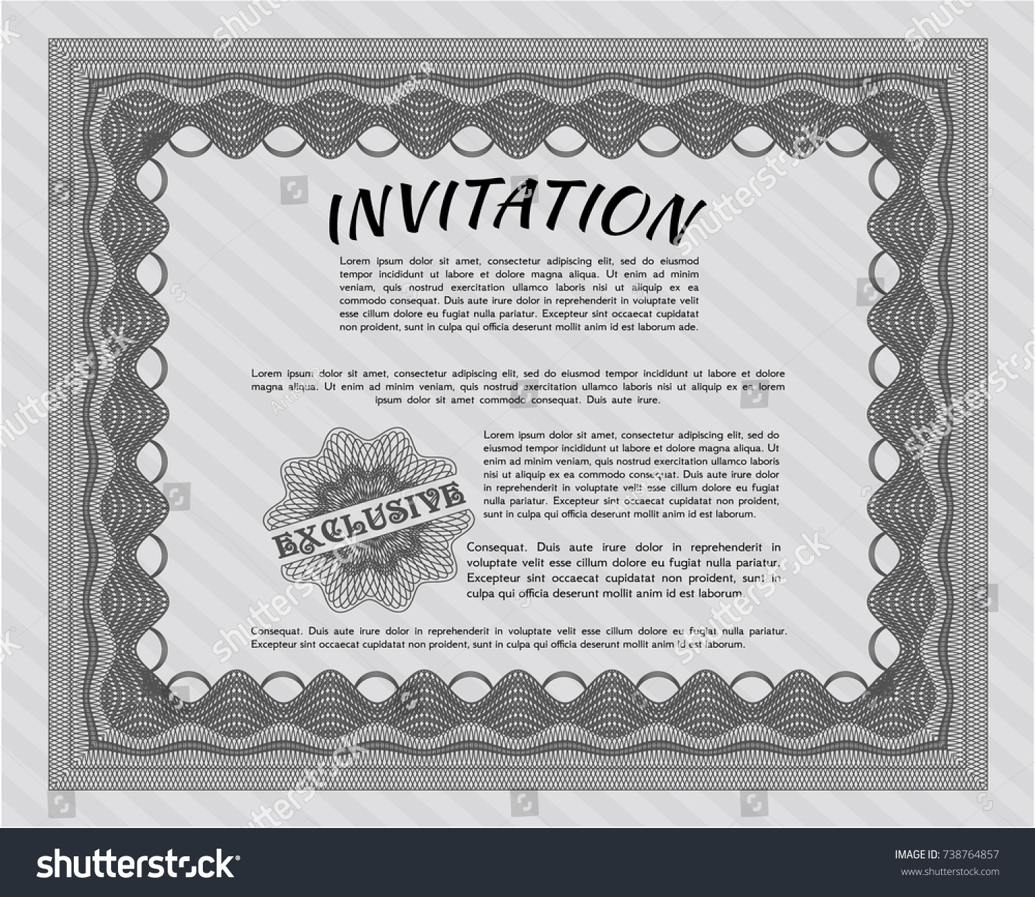Grey formal invitation template printer friendly stock vector grey formal invitation template printer friendly superior design detailed stopboris Image collections