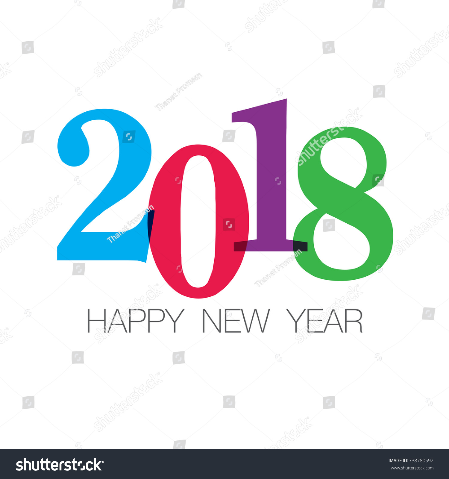 Happy new year 2018 card numbers stock vector royalty free happy new year 2018 card numbers font editable vector design m4hsunfo