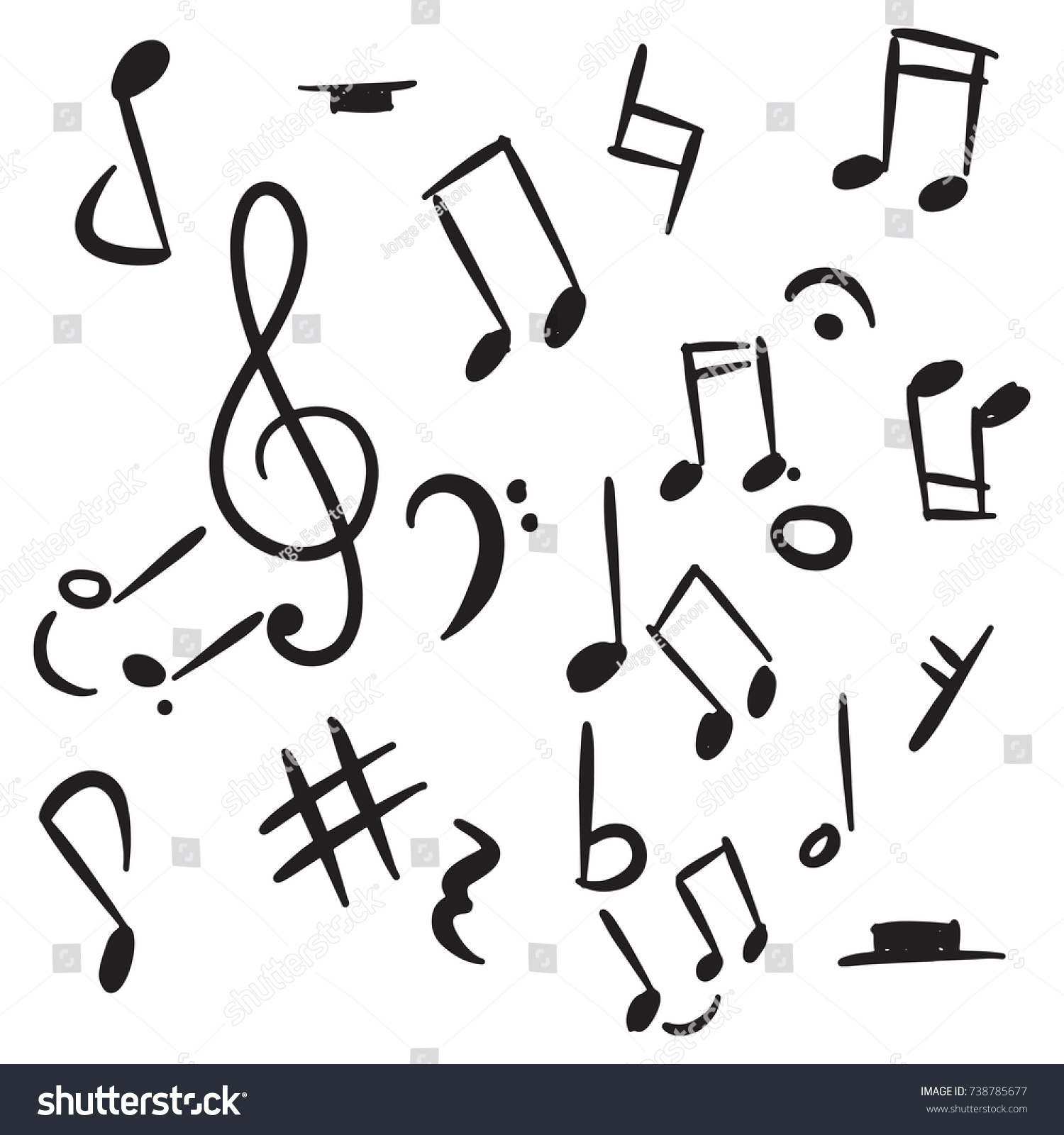 Set music note doodle stock vector 738785677 shutterstock set of music note doodle buycottarizona Image collections