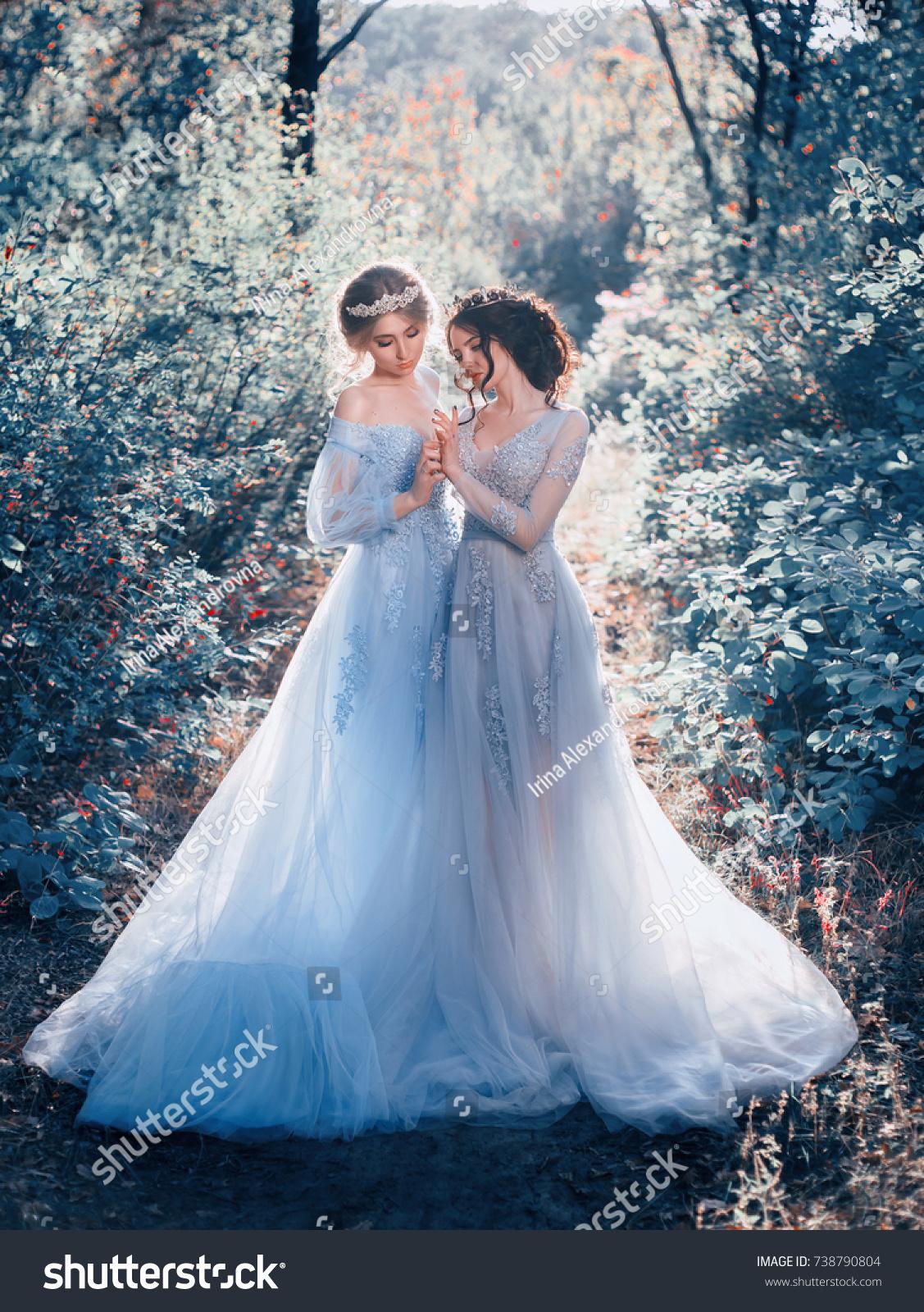 Two Beautiful Princess Girls Walking Luxurious Stock Photo (Royalty ...