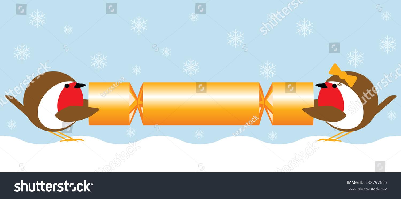 Christmas Cracker Clipart.Robins Pulling Christmas Cracker Stock Vector Royalty Free