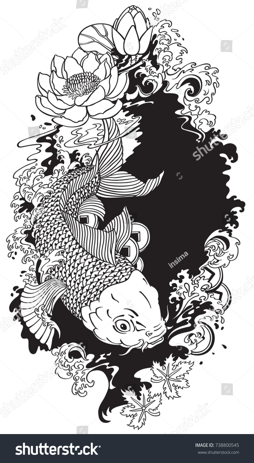Japanese Koi Gold Carp Fish Lotus Stock Vector Royalty Free