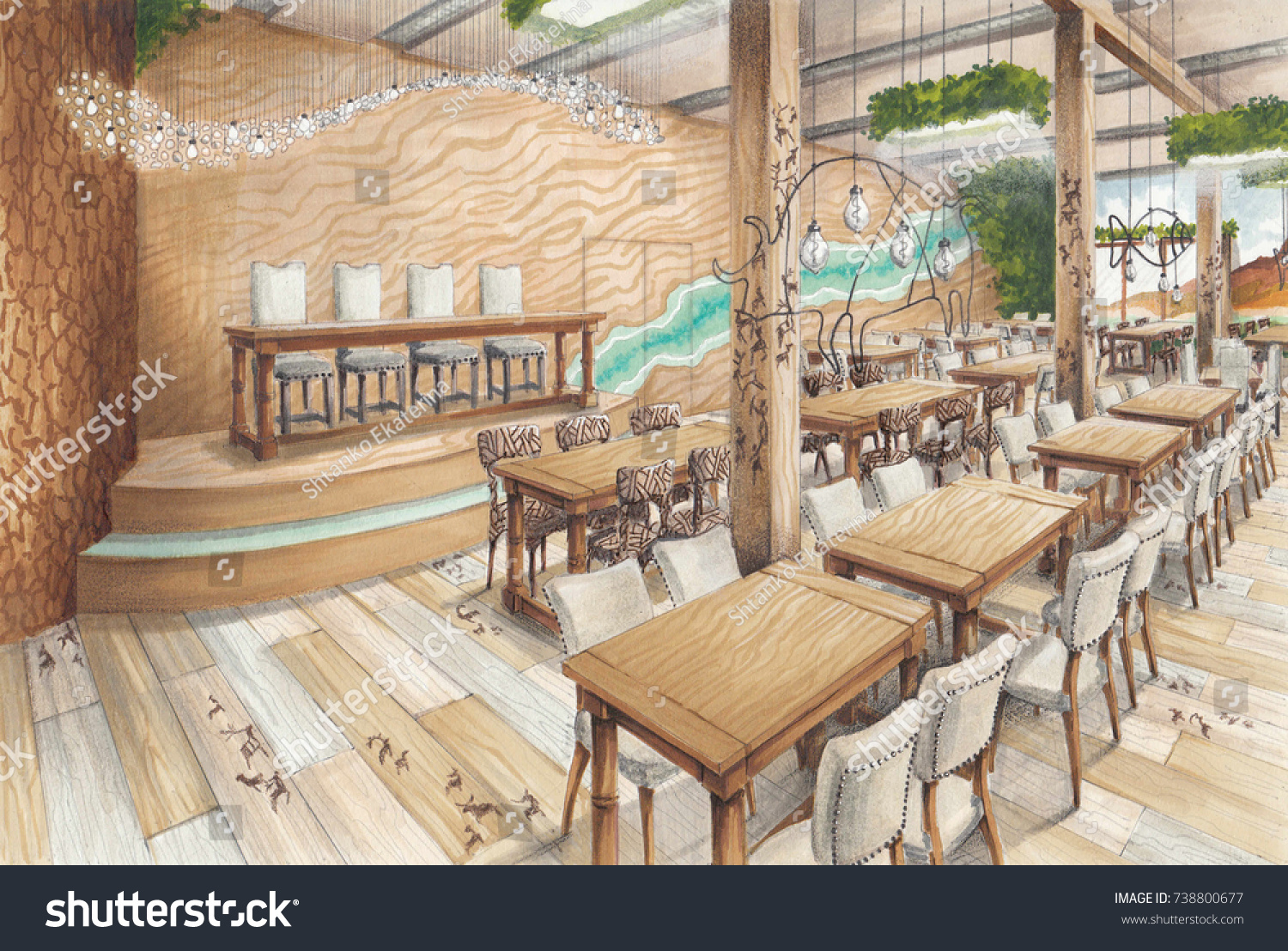 Interior sketch large restaurant eco style stock