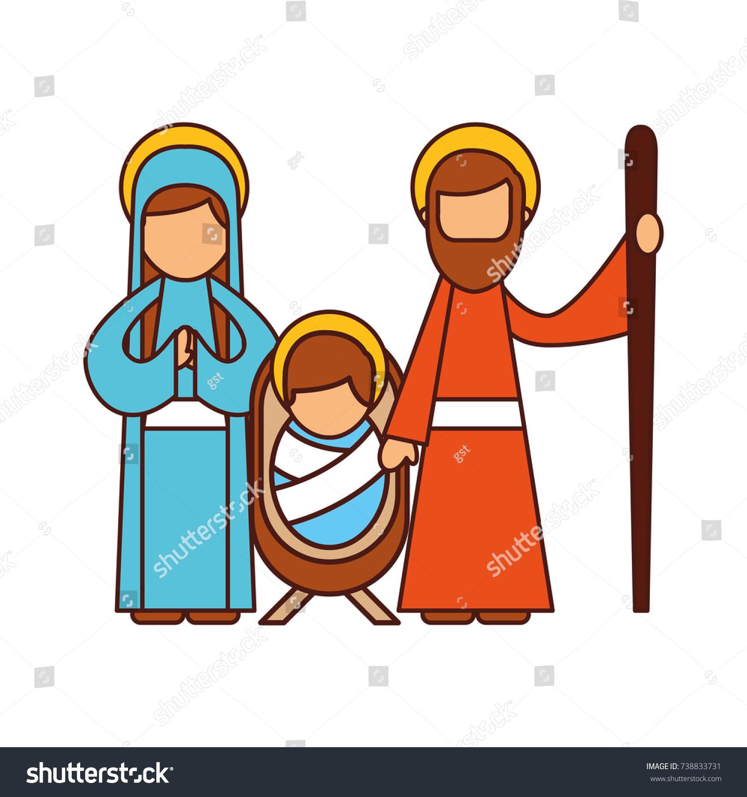 Christmas Nativity Scene Holy Family Jesus Stock-Vektorgrafik ...