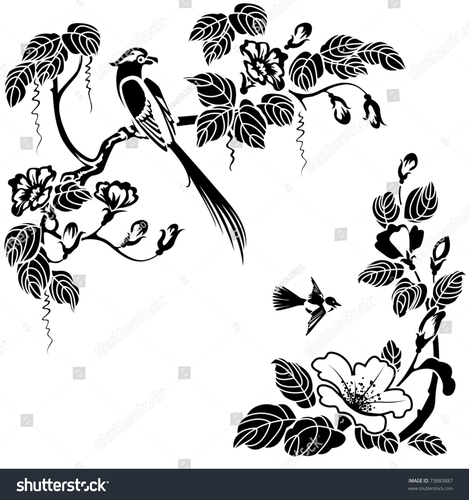 Flowers Made Black Brids: Flowers And Birds In The Oriental Style. Black And White
