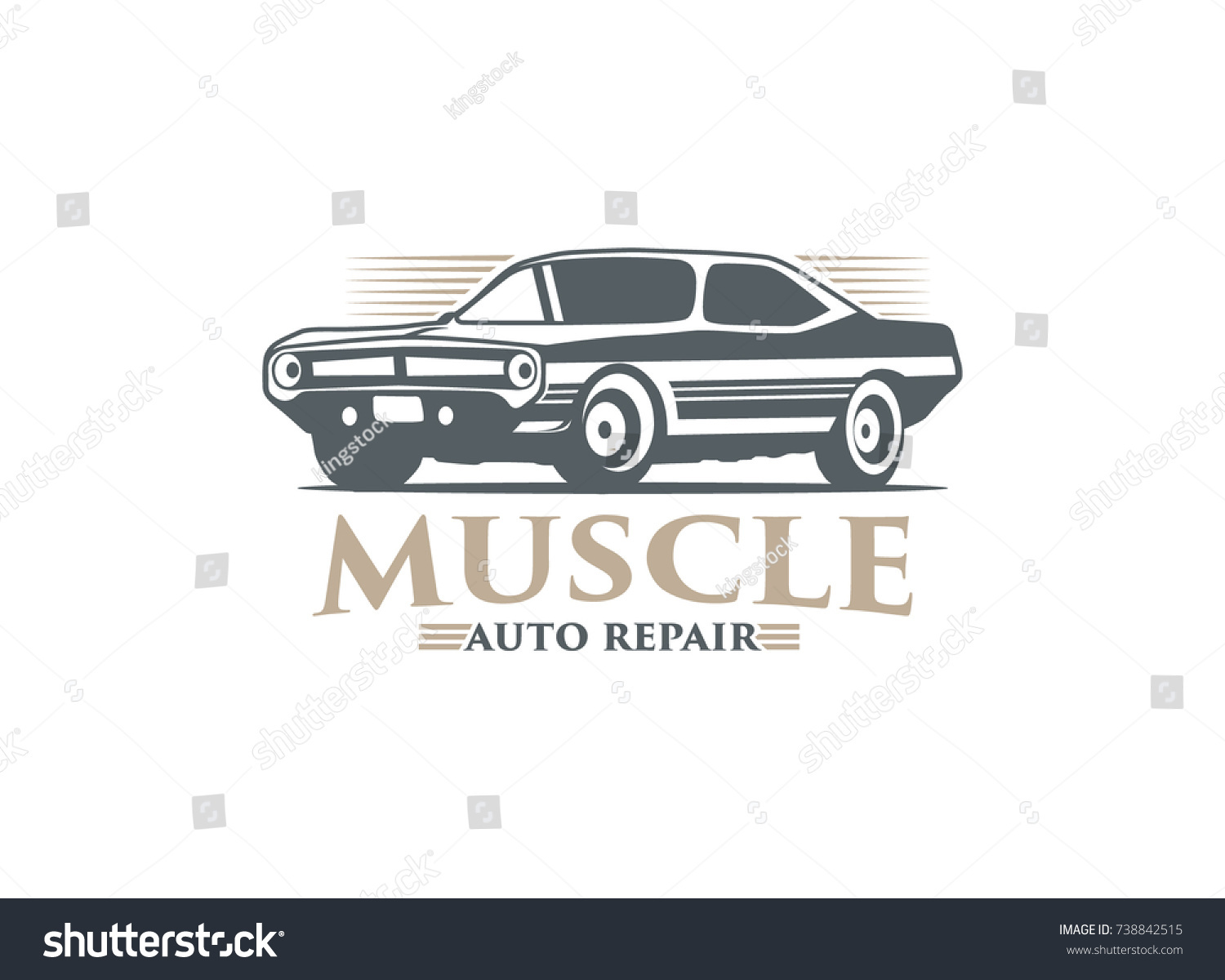 Classic Muscle Car Logo Vector Illustration Isolated On White