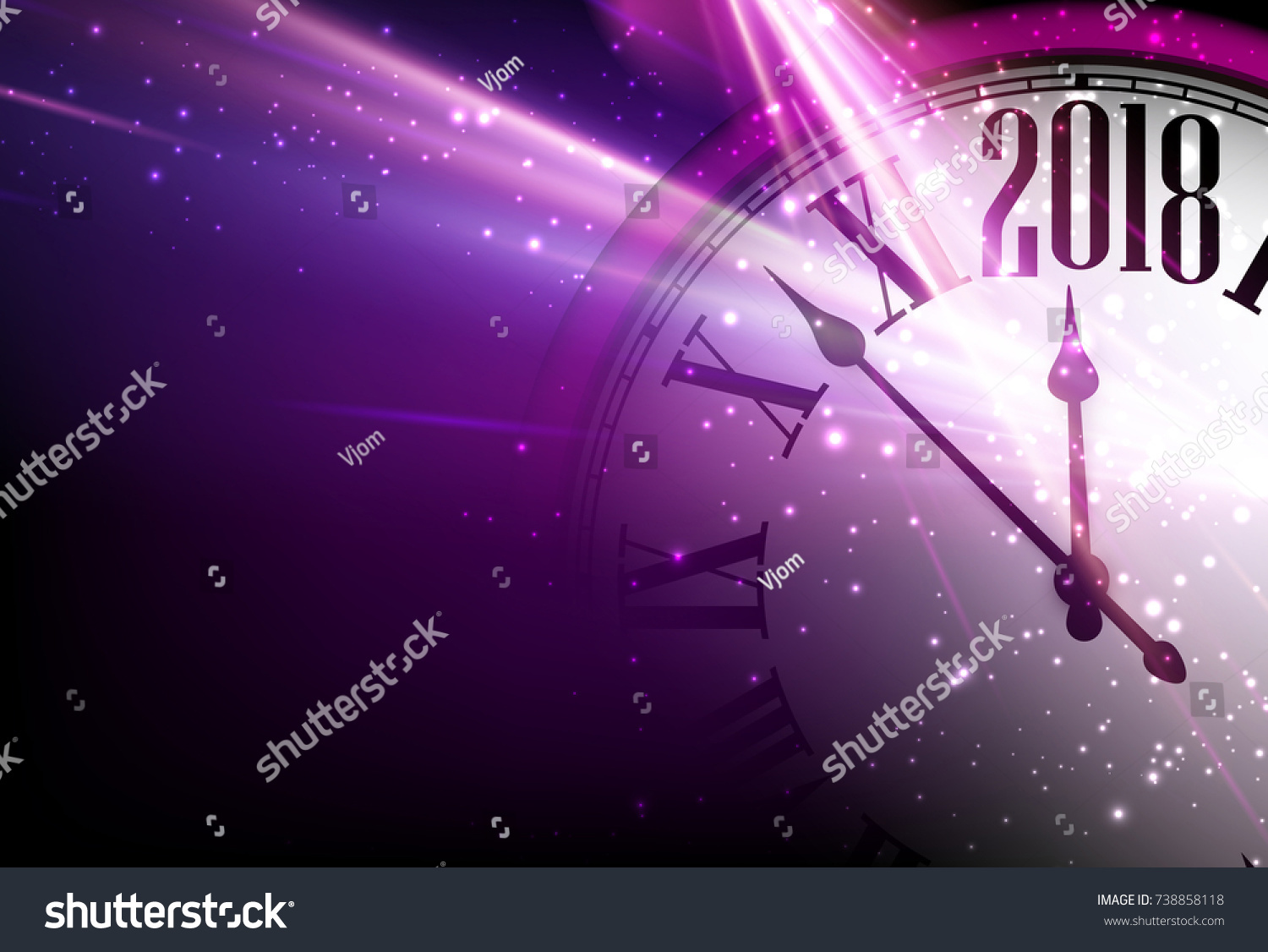 lilac 2018 new year shining background with clock vector illustration