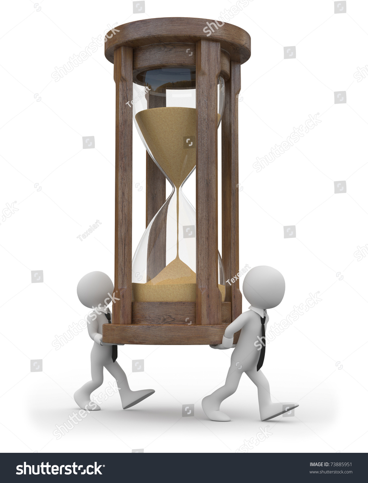 Two Tiny Men Carrying Huge Hourglass Stock Illustration 73885951
