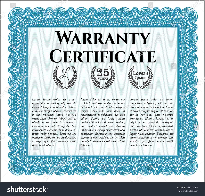 Light Blue Retro Warranty Certificate Template Stock Vector Royalty
