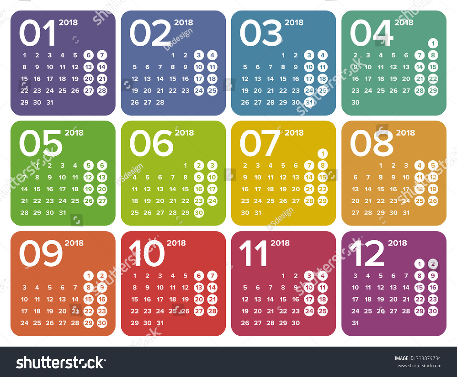Simple colorful universal calendar 2018 calendar stock vector simple colorful universal calendar for 2018 the calendar does not contain any words or letters aljukfo Image collections