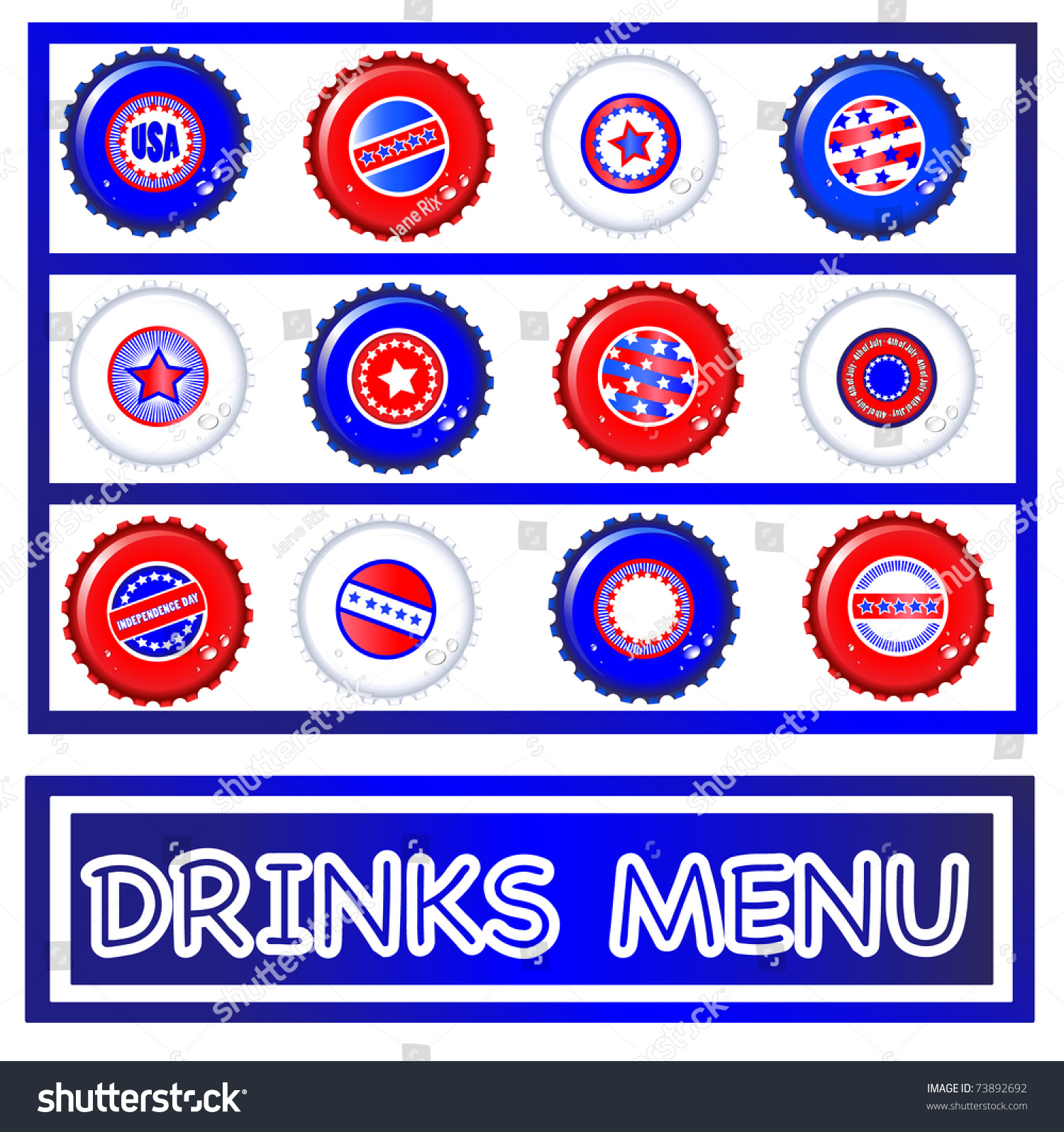 4th of july menu template - drinks menu template of stars stripes bottle caps usa