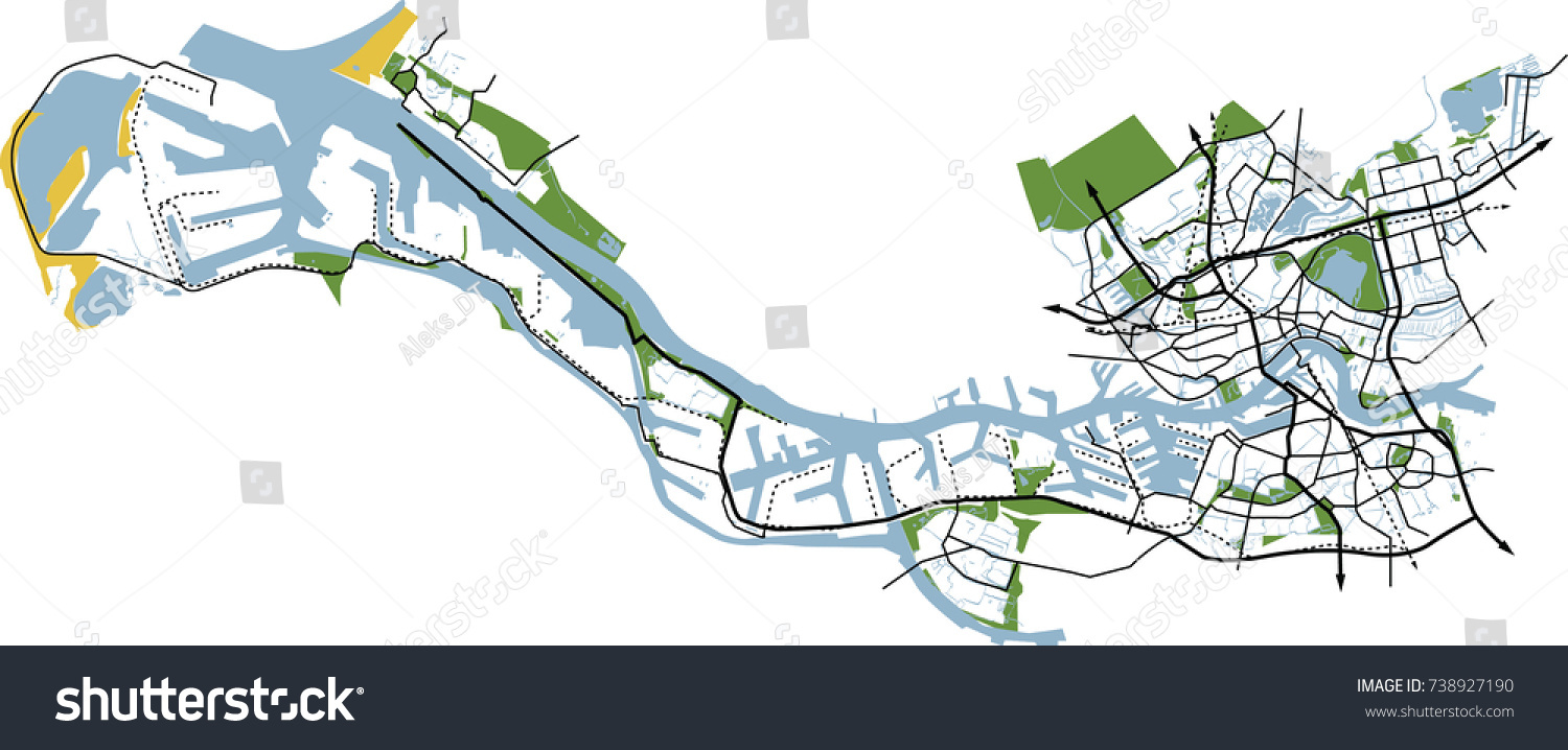 Rotterdam Netherlands Port Rotterdam Vector Map Stock ...
