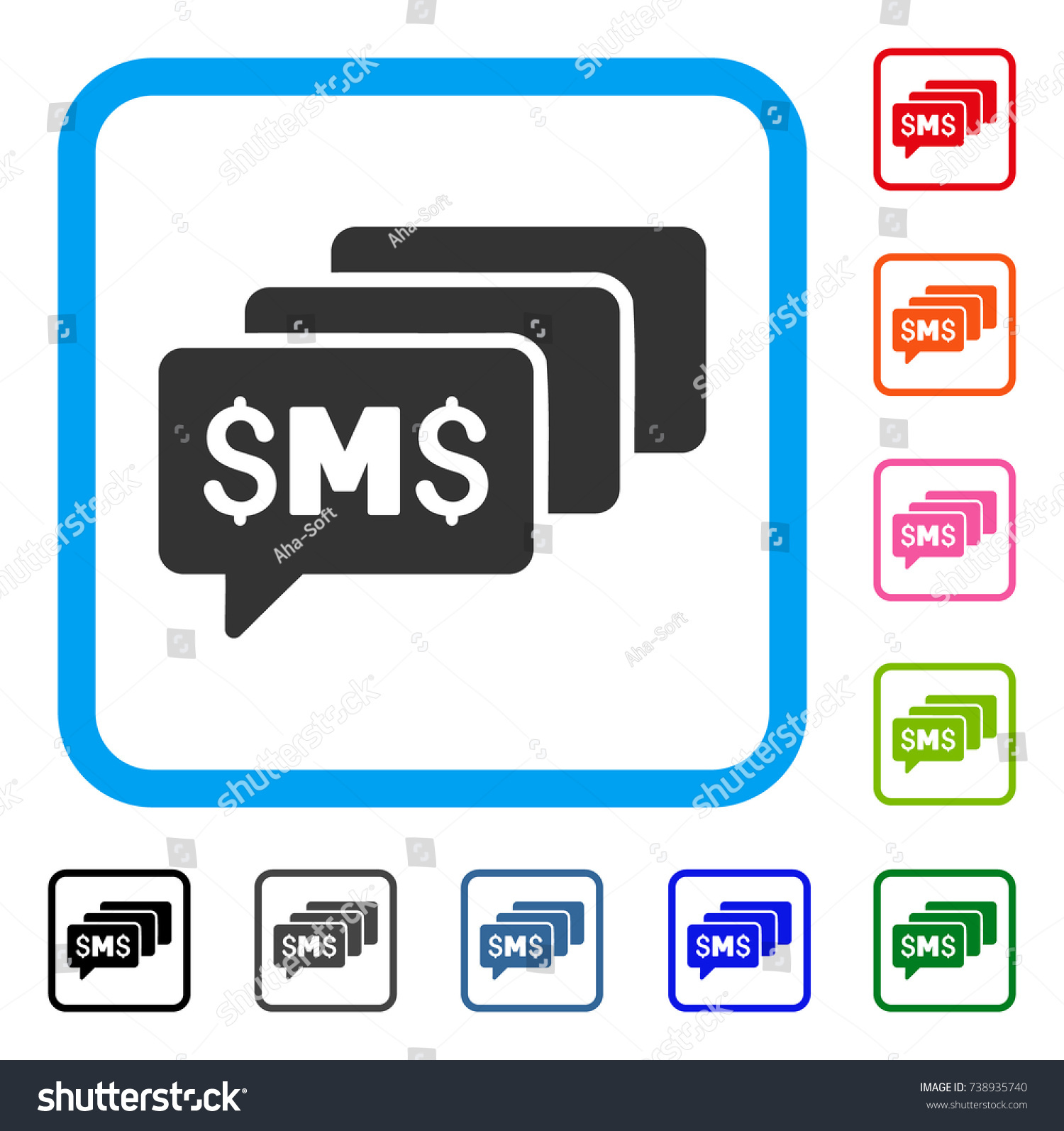 Sms messages icon flat gray iconic stock vector 738935740 sms messages icon flat gray iconic symbol in a light blue rounded square black biocorpaavc Images