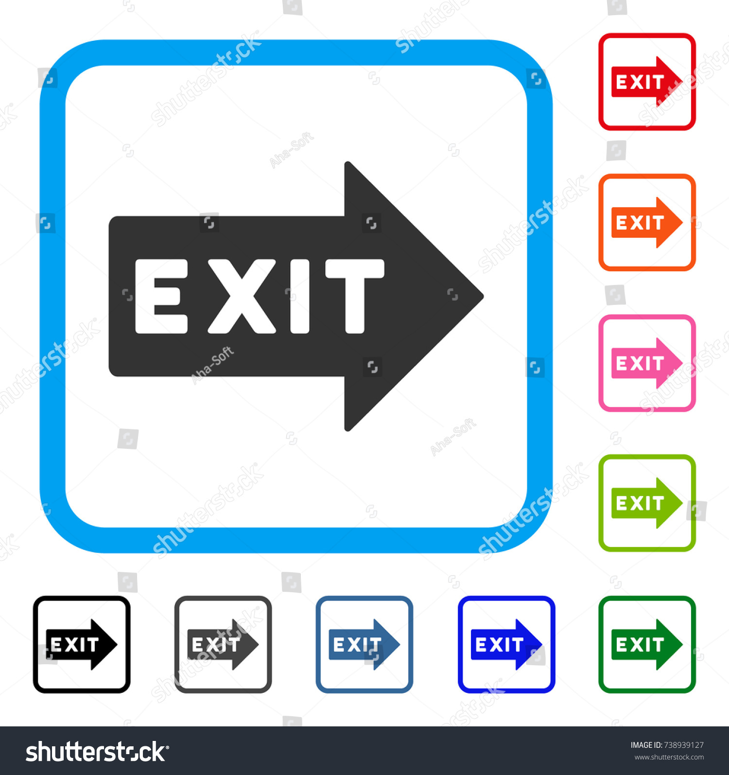 Exit arrow icon flat gray iconic stock vector 738939127 shutterstock exit arrow icon flat gray iconic symbol in a light blue rounded square black buycottarizona Choice Image