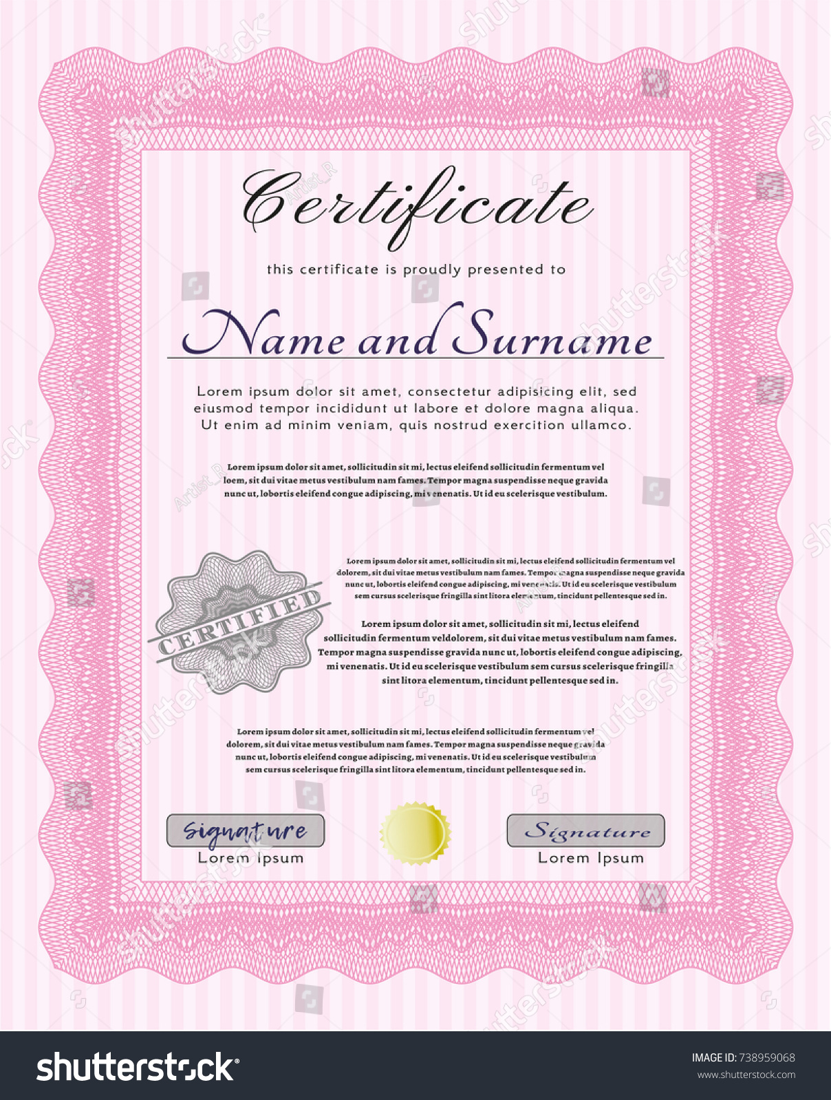 pink diploma complex background vector illustration stock vector  pink diploma complex background vector illustration cordial design