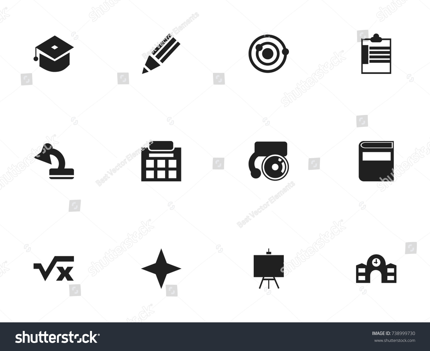 Set 12 Editable Knowledge Icons Includes Stock Vector 738999730