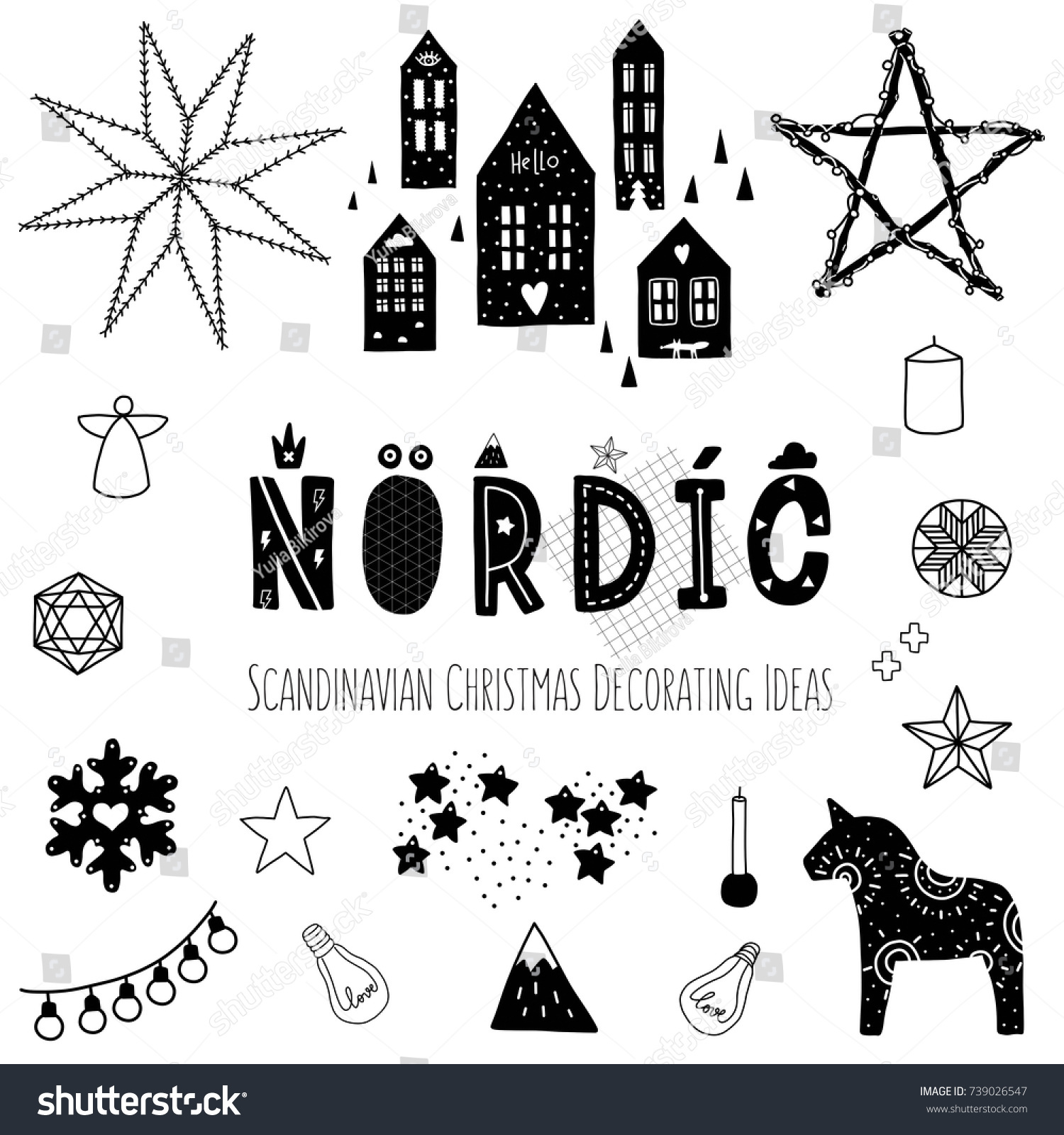 Christmas Nordic Norse Black White Black Stock Vector (Royalty Free ...