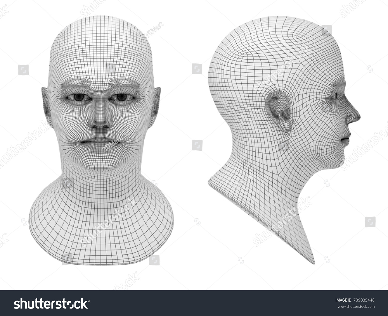 Wireframe Two Mans Head Profile Full Stock Illustration 739035448 ...