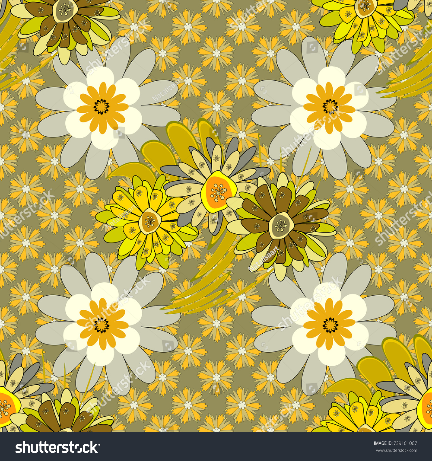 Luxurious Flowers Vintage Yellow Green Gray Stock Illustration