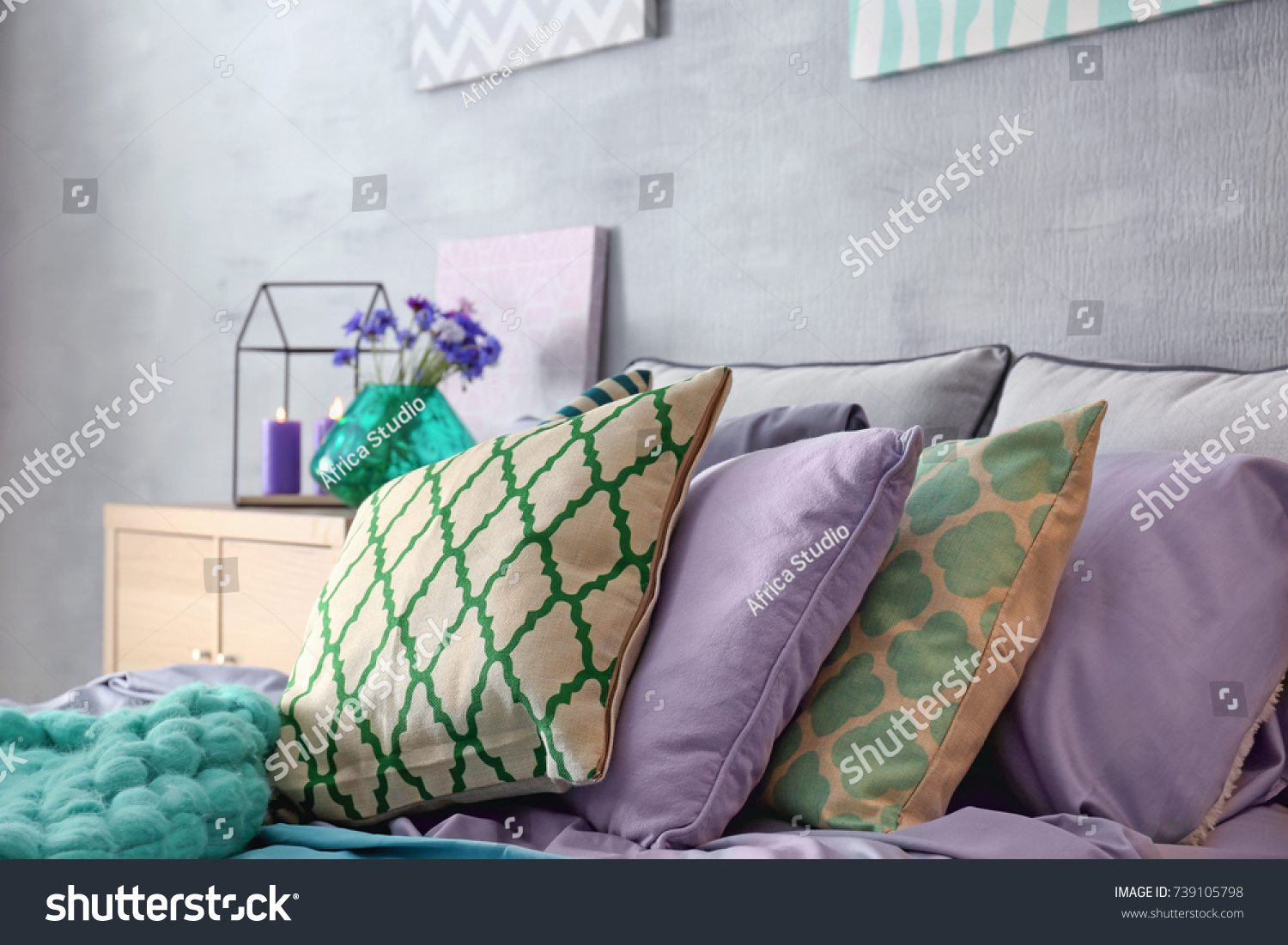 Magnificent Lilac Accent Modern Interior Comfortable Bed Stock Photo Download Free Architecture Designs Photstoregrimeyleaguecom