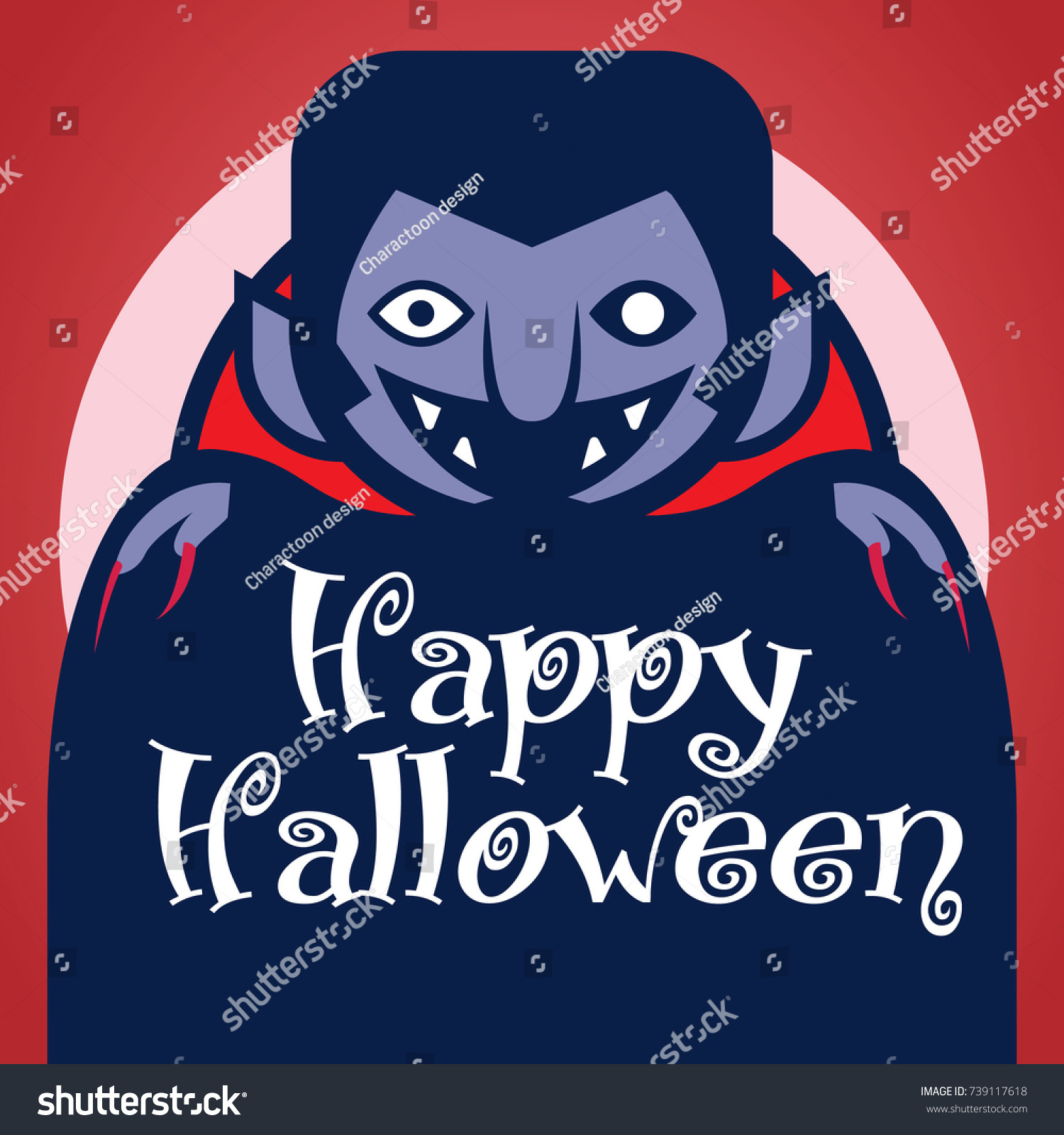 Character Cartoon Dracula Vampire Wishes Happy Halloween. Moonlight With  Red Background.