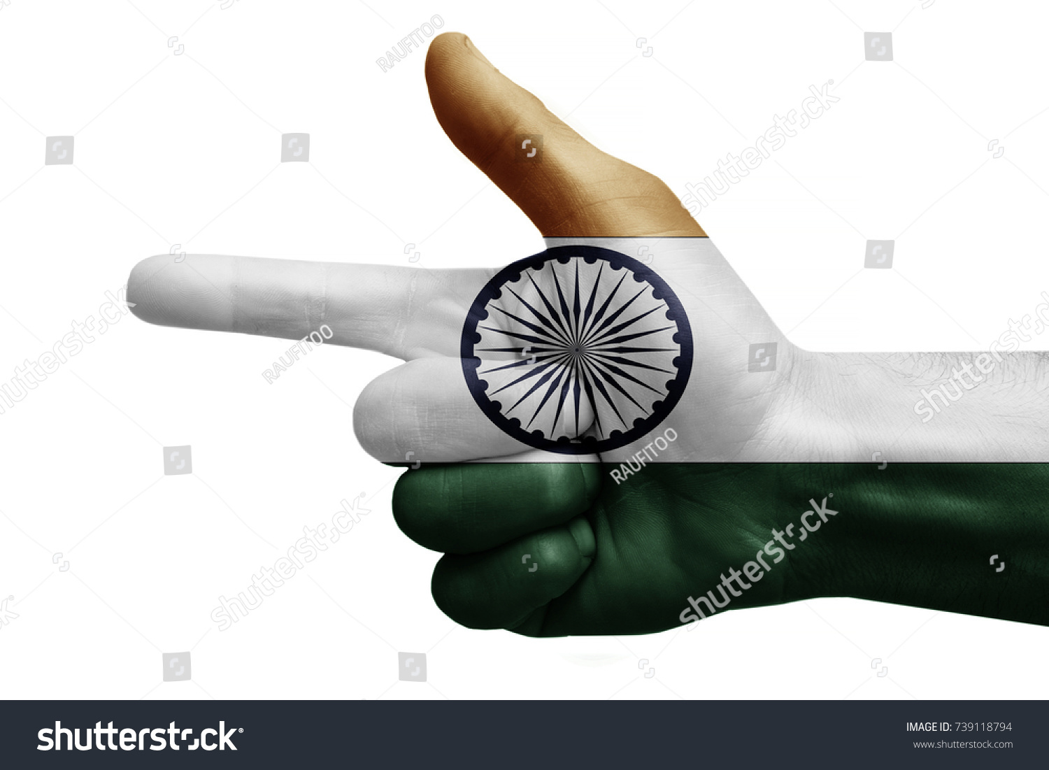 Hand Symbol Sign Gun Painted Flag Stock Photo Edit Now 739118794