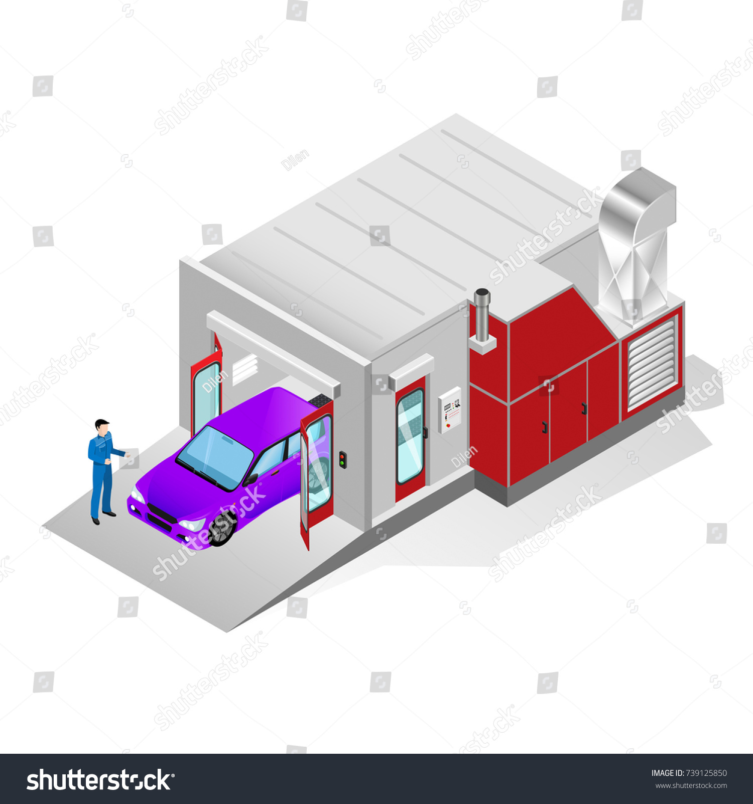 Spray Paint Booth Painting Car Body Stock Illustration 739125850 ...
