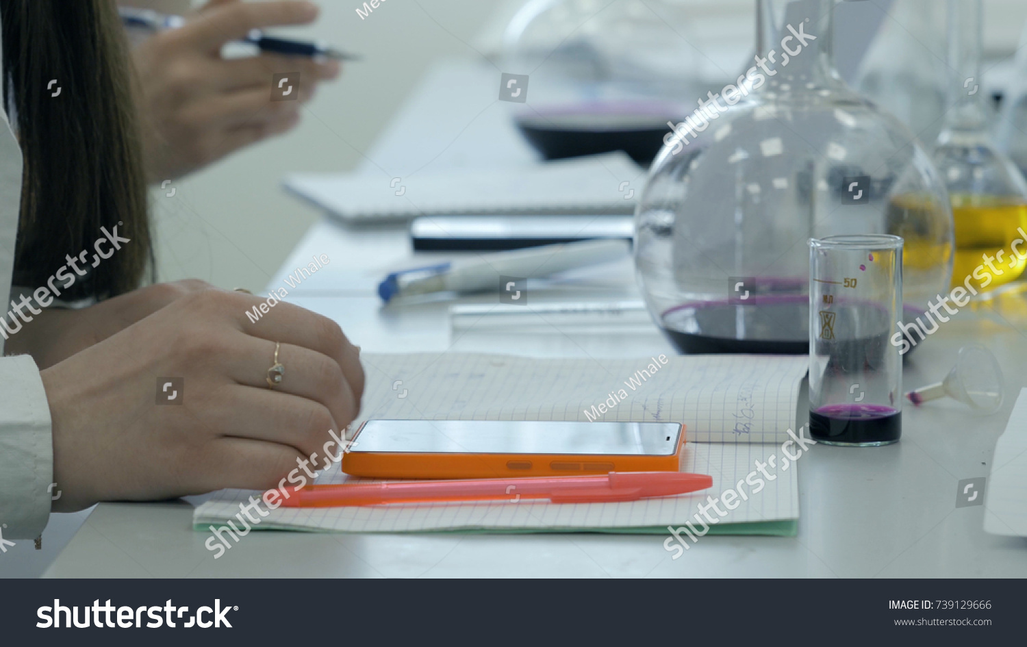 Students Work Laboratory Chemistry Take Notes Stock Photo