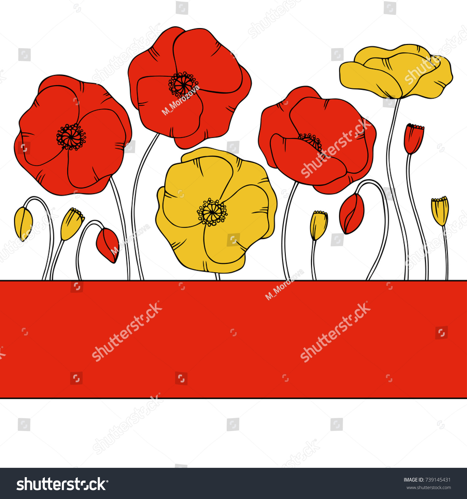color vector simple illustration of decorative poppy flower line pattern