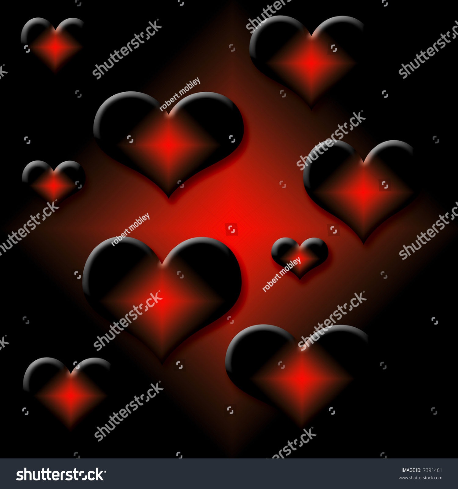 Hot 3d Valentine Hearts On Gradient Background