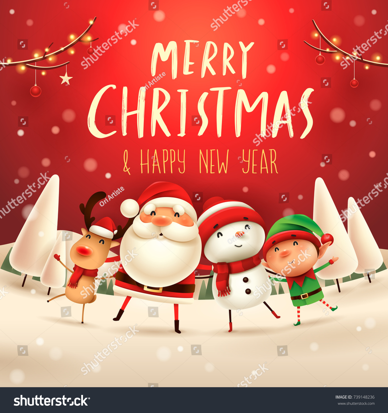 Similar Images, Stock Photos & Vectors of Merry Christmas Happy ...
