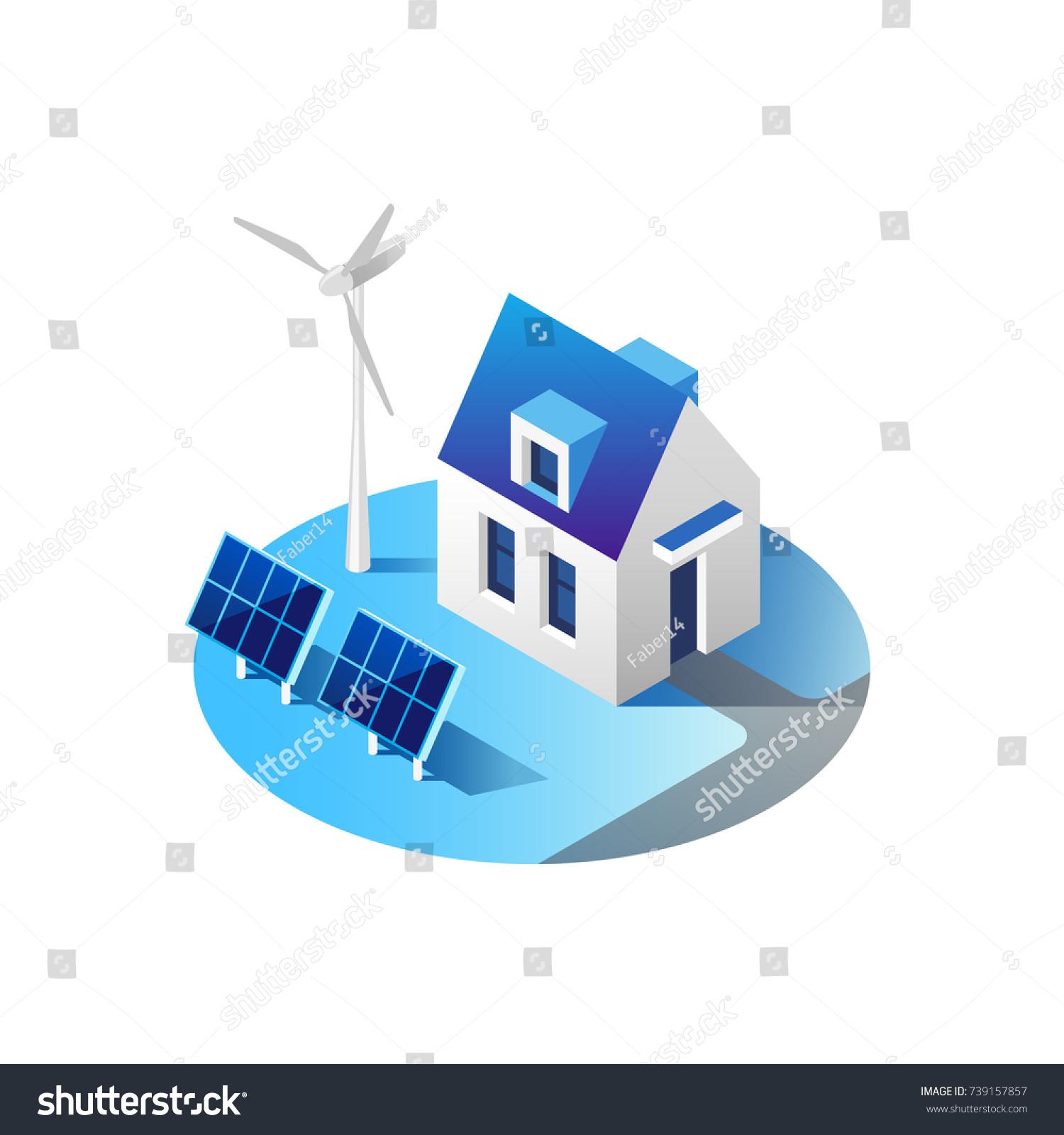Green Energy Eco Friendly Modern Home Stock Vector