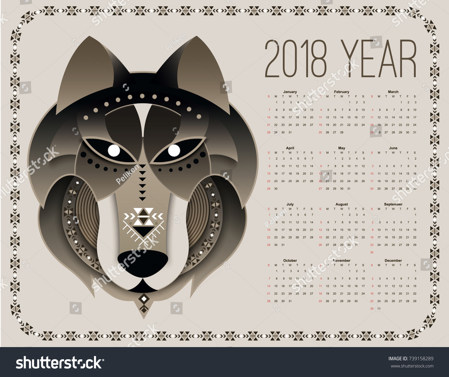 Calendar Head Design : Dog calendar chinese new year Стоковое Векторное