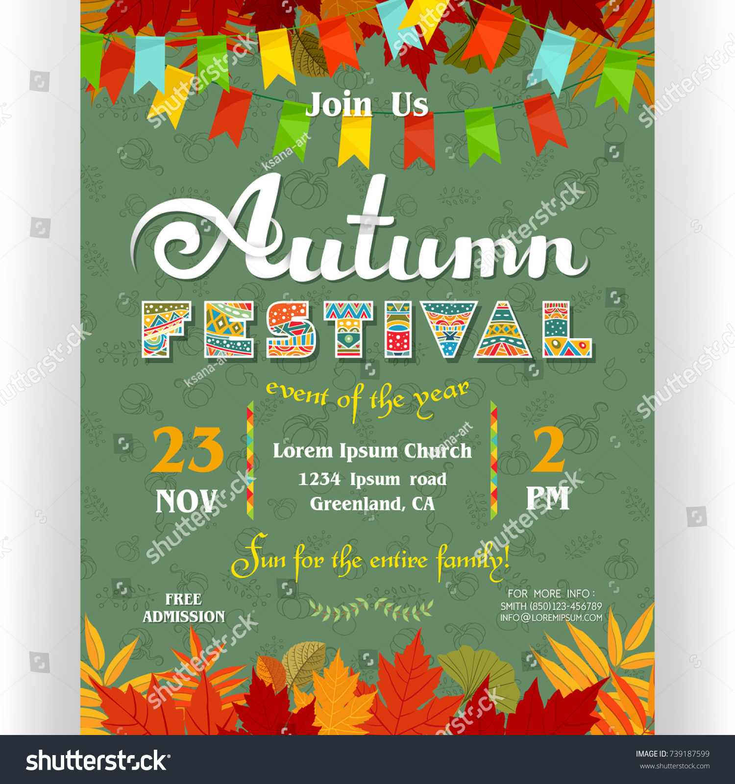 Autumn festival poster template text customized stock vector autumn festival poster template text customized for invitation for celebration ornate letters colorful pronofoot35fo Gallery