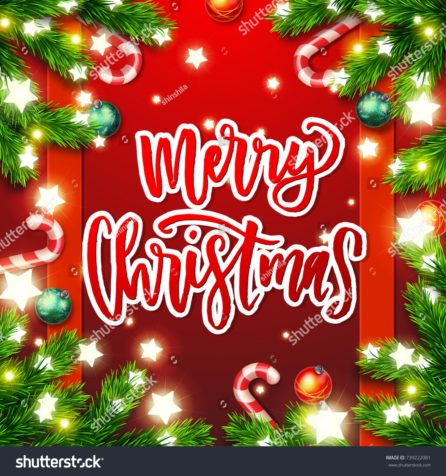 Merry christmas greeting card happy new stock vector 739222081 merry christmas greeting card happy new year xmas vector background hand drawn calligraphy kristyandbryce Image collections