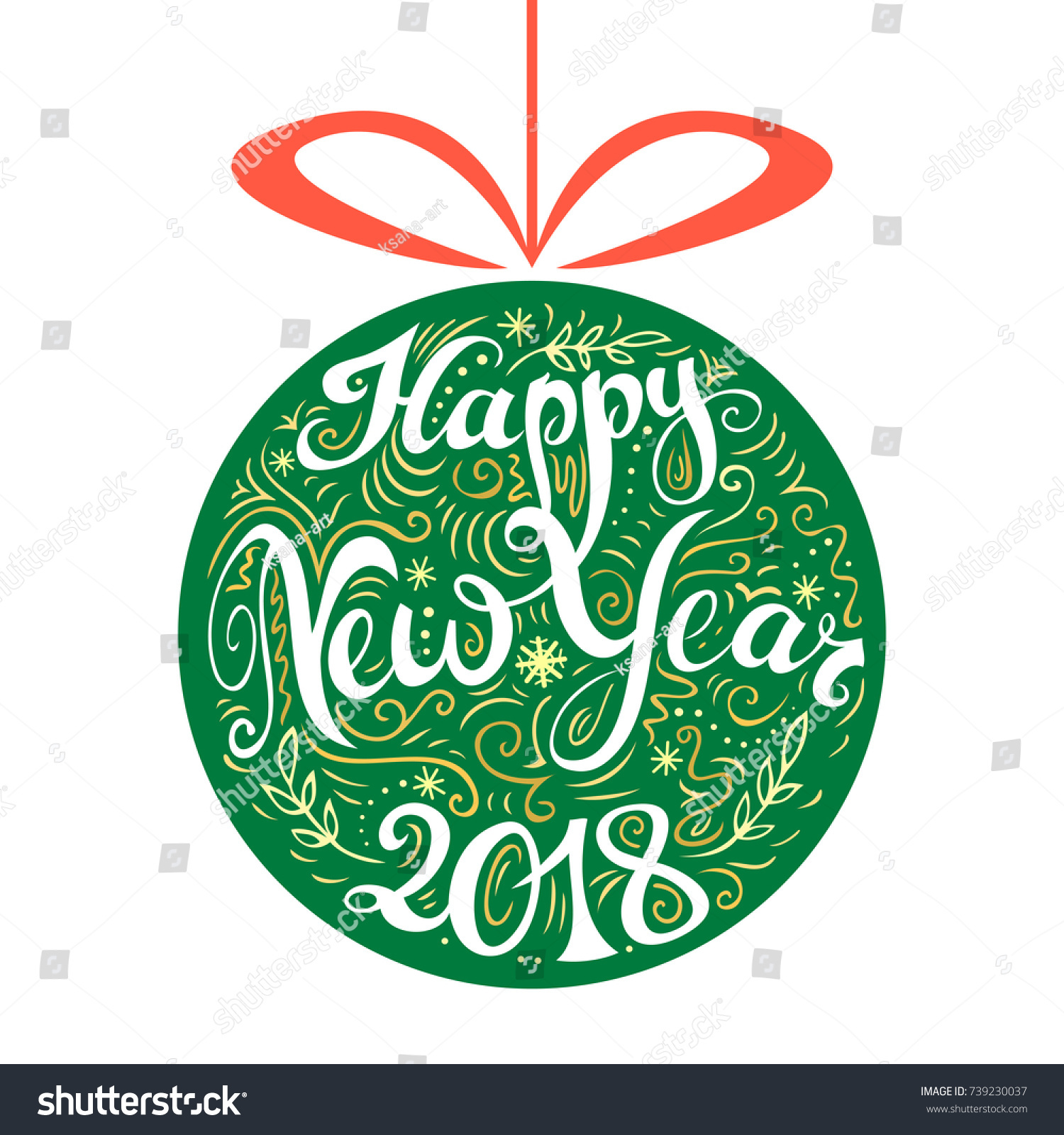 happy new year 2018 card hand drawn creative typography doodle style freehand lettering and