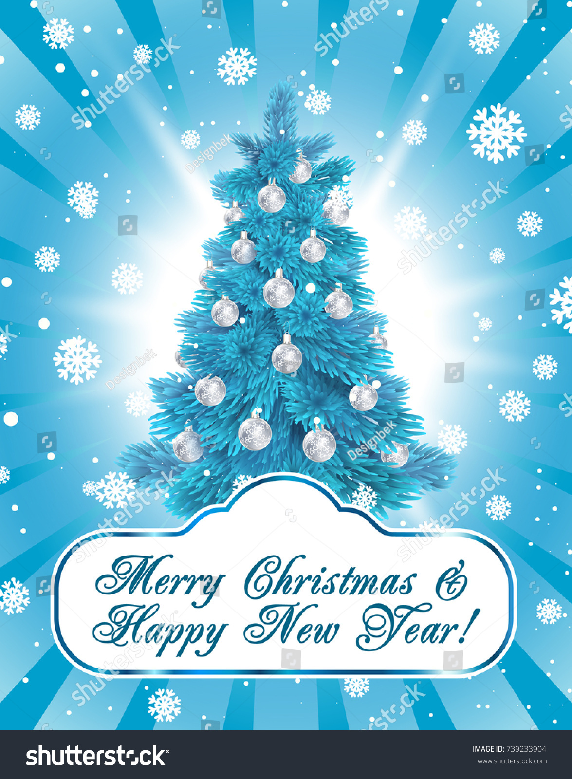 Merry christmas happy new year greeting stock vector 739233904 merry christmas and happy new year greeting card with blue christmas tree on the blue background kristyandbryce Choice Image