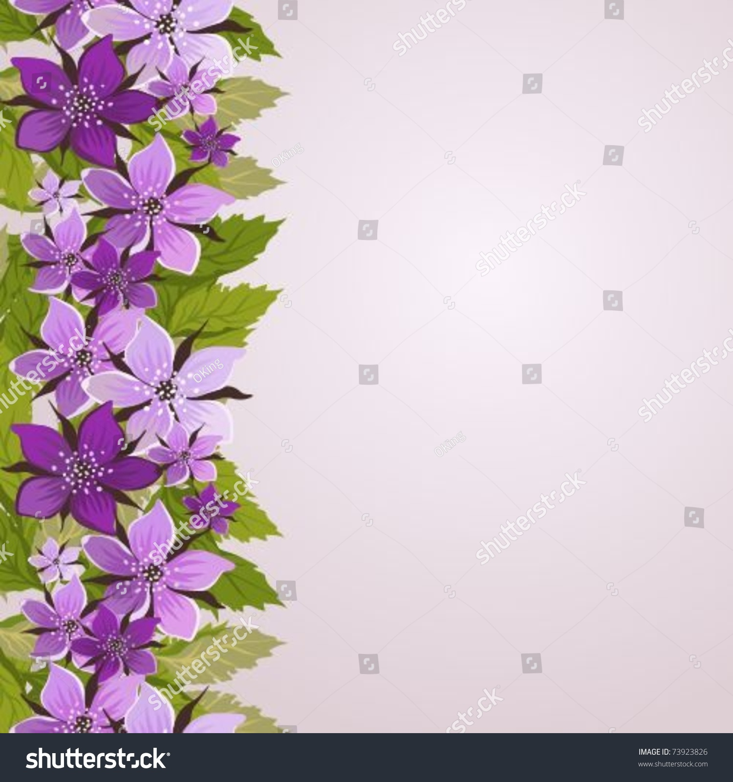 Spring Green Leaves And Flowers Background With Plants: Background Border Lilac Flowers Green Leaves Stock Vector