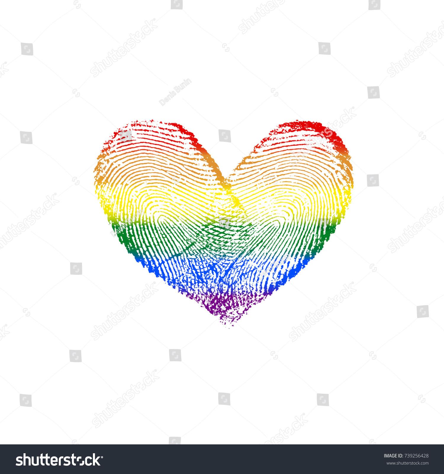 Fingerprint Rainbow Flag Heart LGBT VIII Stock Vector (2018 ...