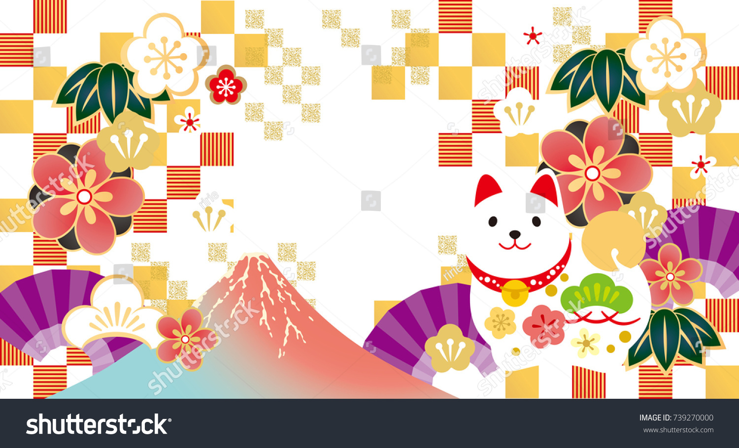 new years cards 2018 japanese new stock vector 739270000 shutterstock