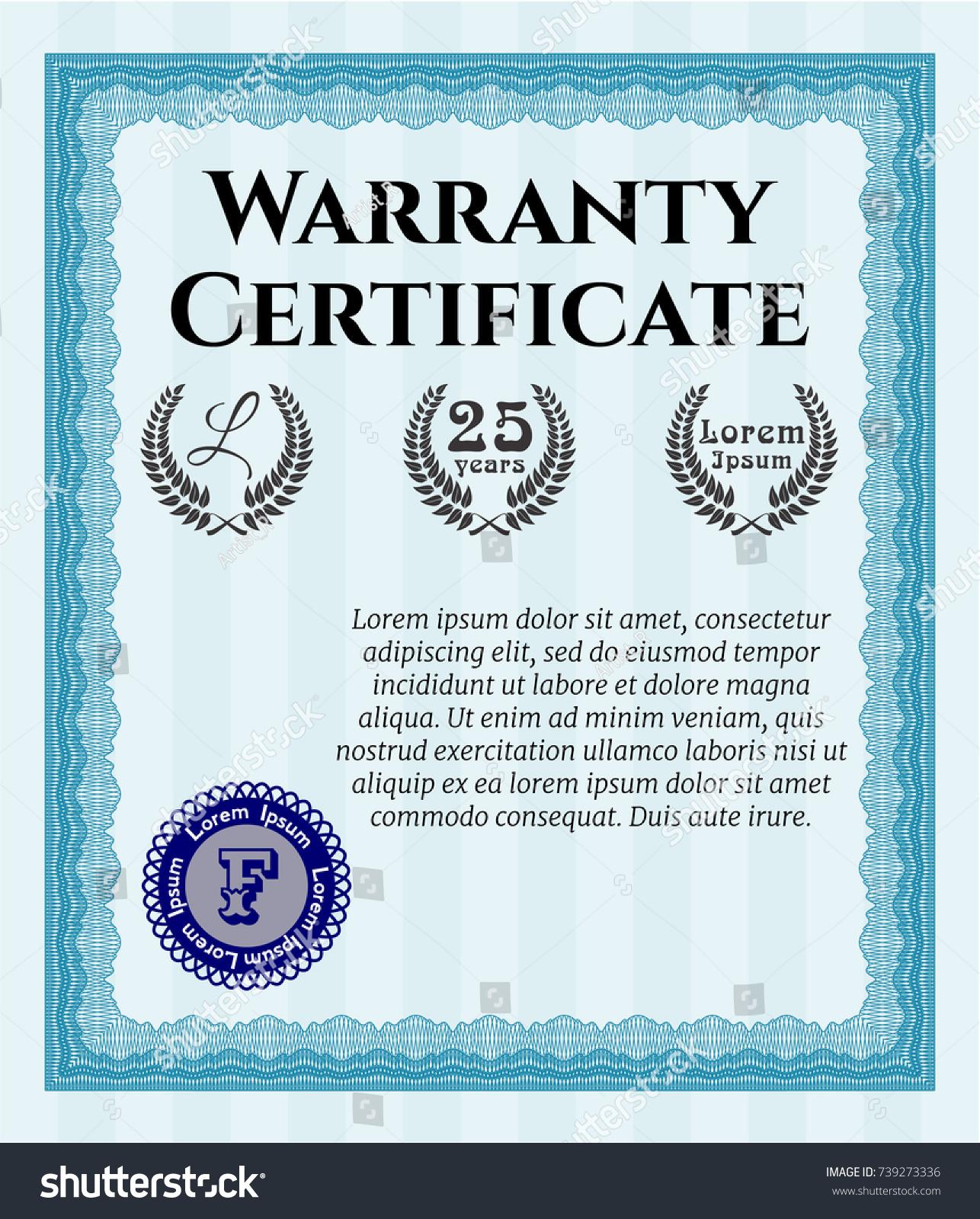 id 739273336 - Warranty Certificate Template