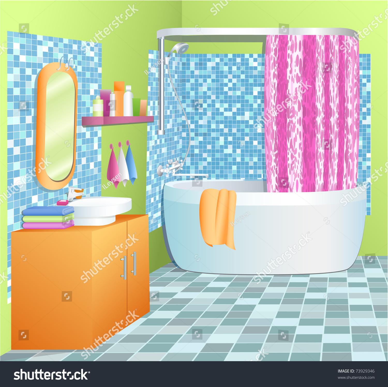 Bathroom Cabinet Clip Art: Bathroom Vector Illustration Stock Vector 73929346