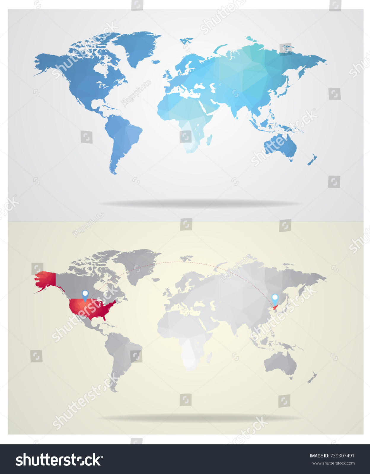 Blue World Map Gray World Map Stock Vector 739307491 Shutterstock