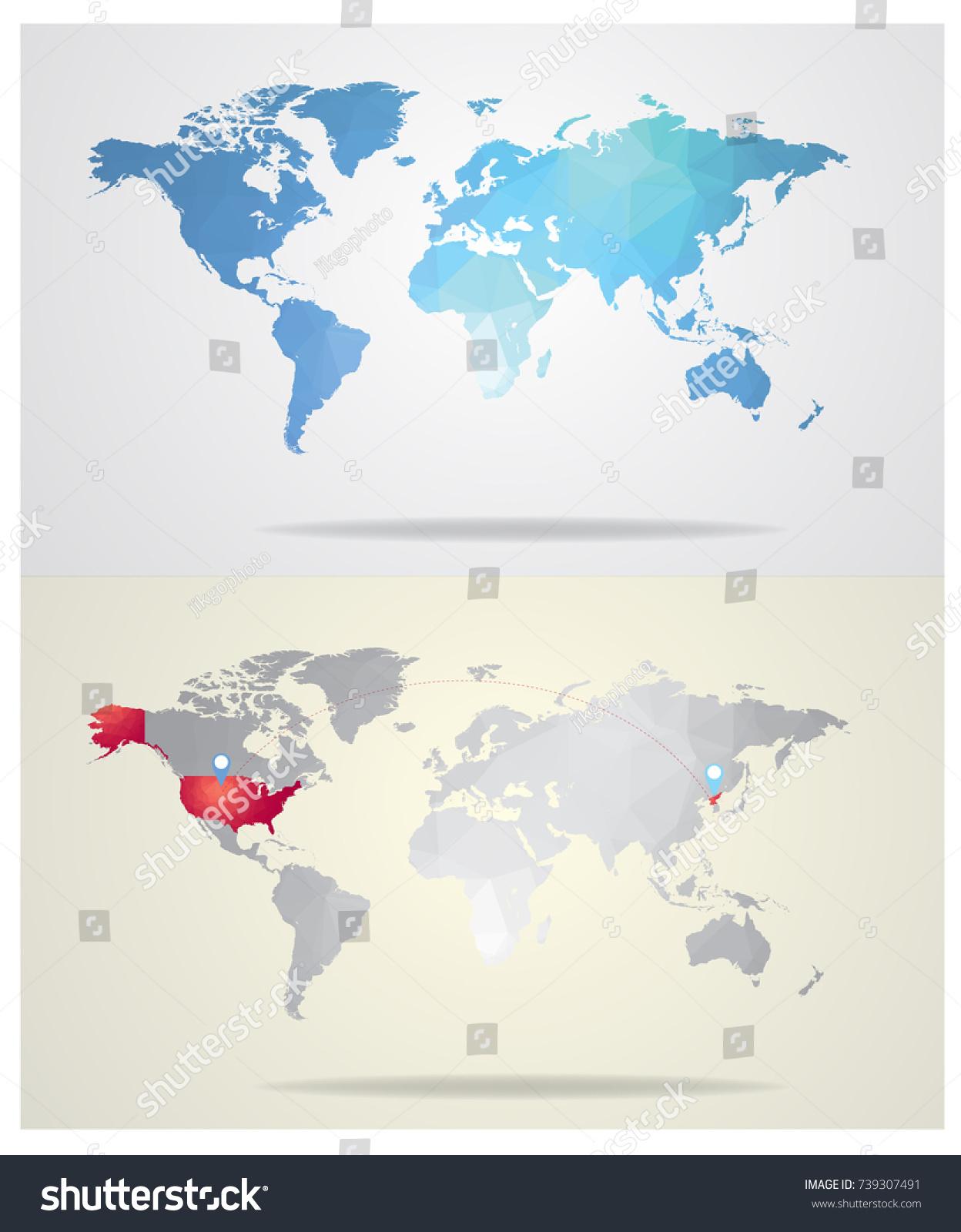 Blue world map gray world map stock vector 739307491 shutterstock gumiabroncs Images