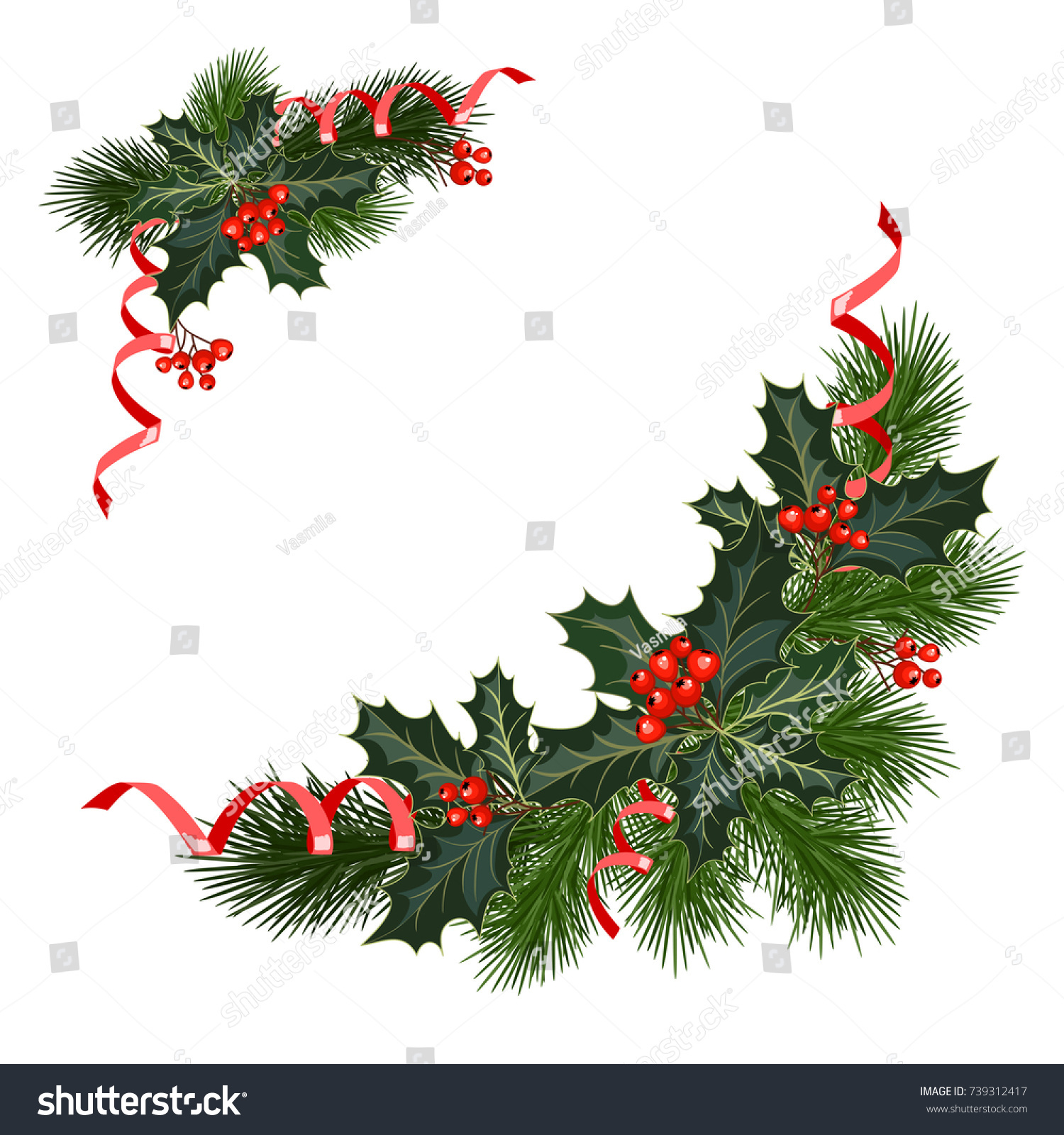 Christmas Decorations Fir Tree Holly Berries Stock Vector