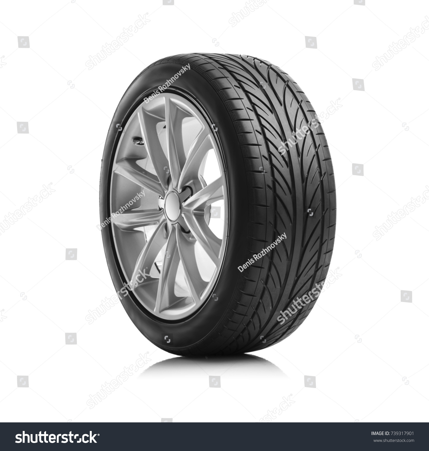 Car wheels isolated on a white background. #739317901