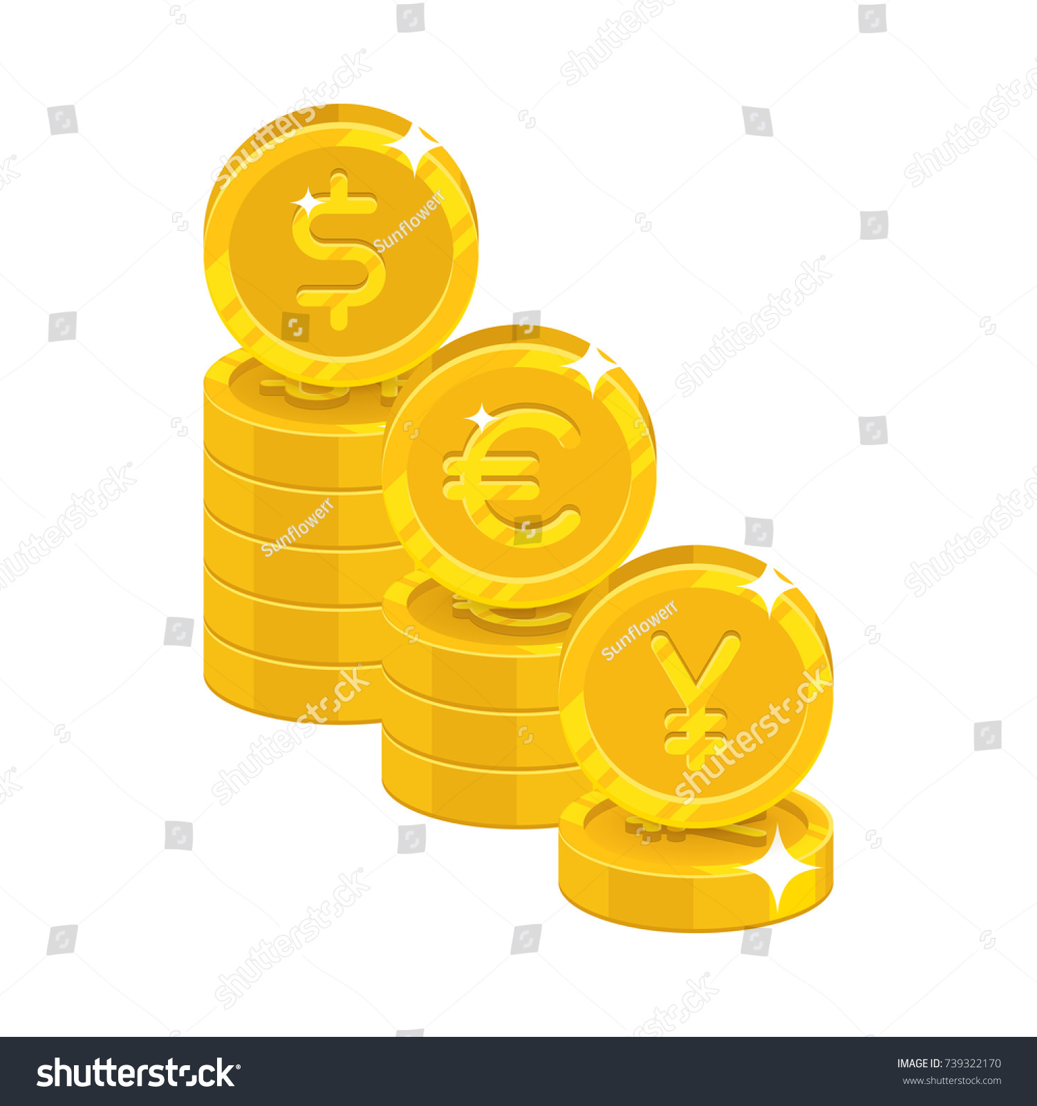 Dollar euro yen coins three piles stock vector 739322170 dollar euro yen coins three piles of gold coinage with currency symbols for biocorpaavc Gallery